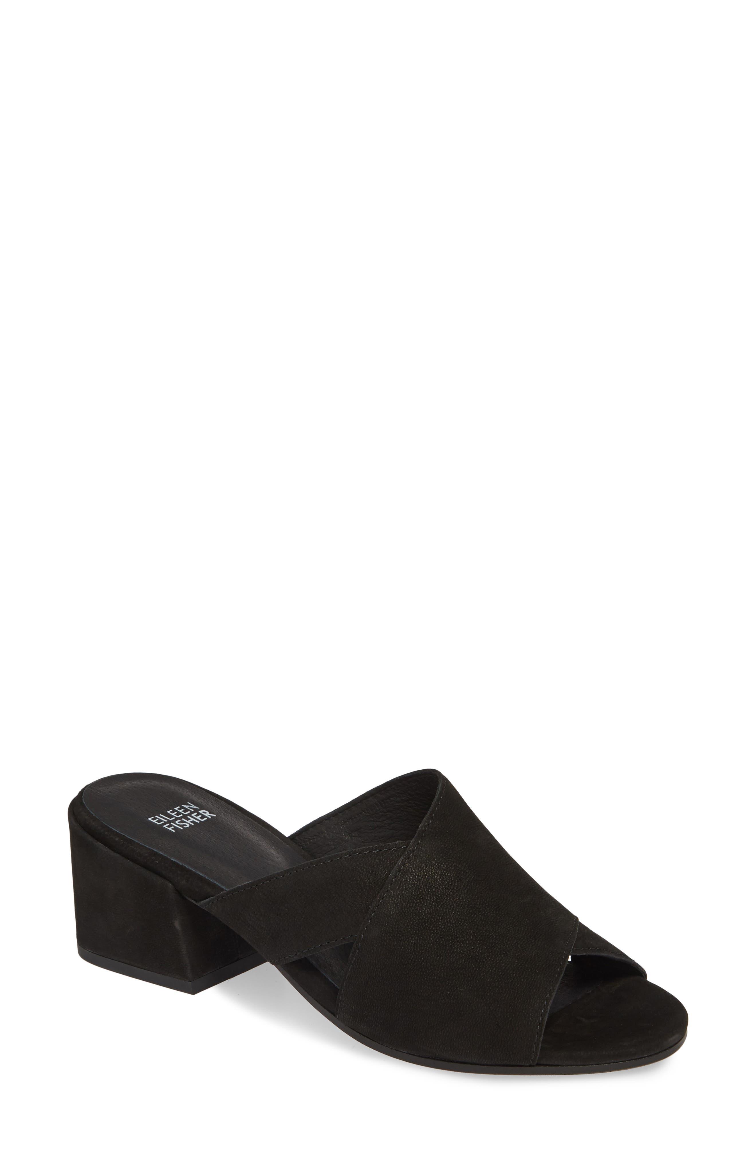 Haven Slide Sandal, Main, color, BLACK NUBUCK