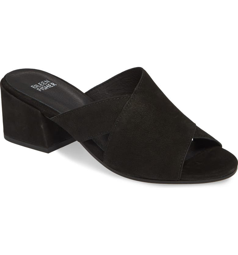 EILEEN FISHER Haven Slide Sandal, Main, color, BLACK NUBUCK