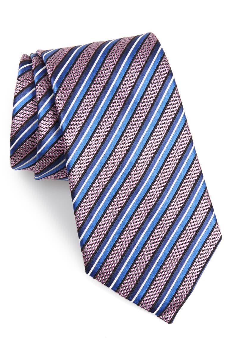ERMENEGILDO ZEGNA Stripe Silk Tie, Main, color, PINK