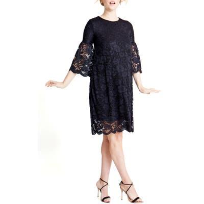Ingrid & Isabel Lace Bell Sleeve Maternity Dress, Black