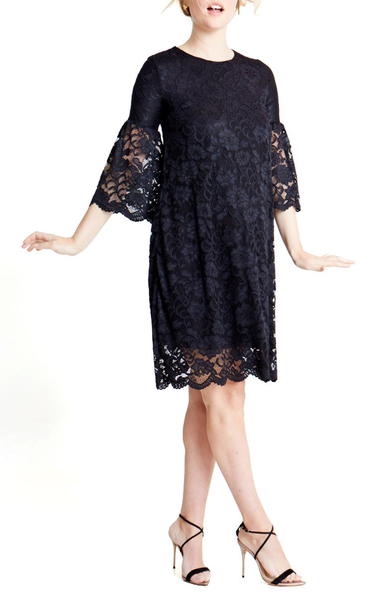 INGRID & ISABEL<SUP>®</SUP> Lace Bell Sleeve Maternity Dress, Main, color, JET BLACK