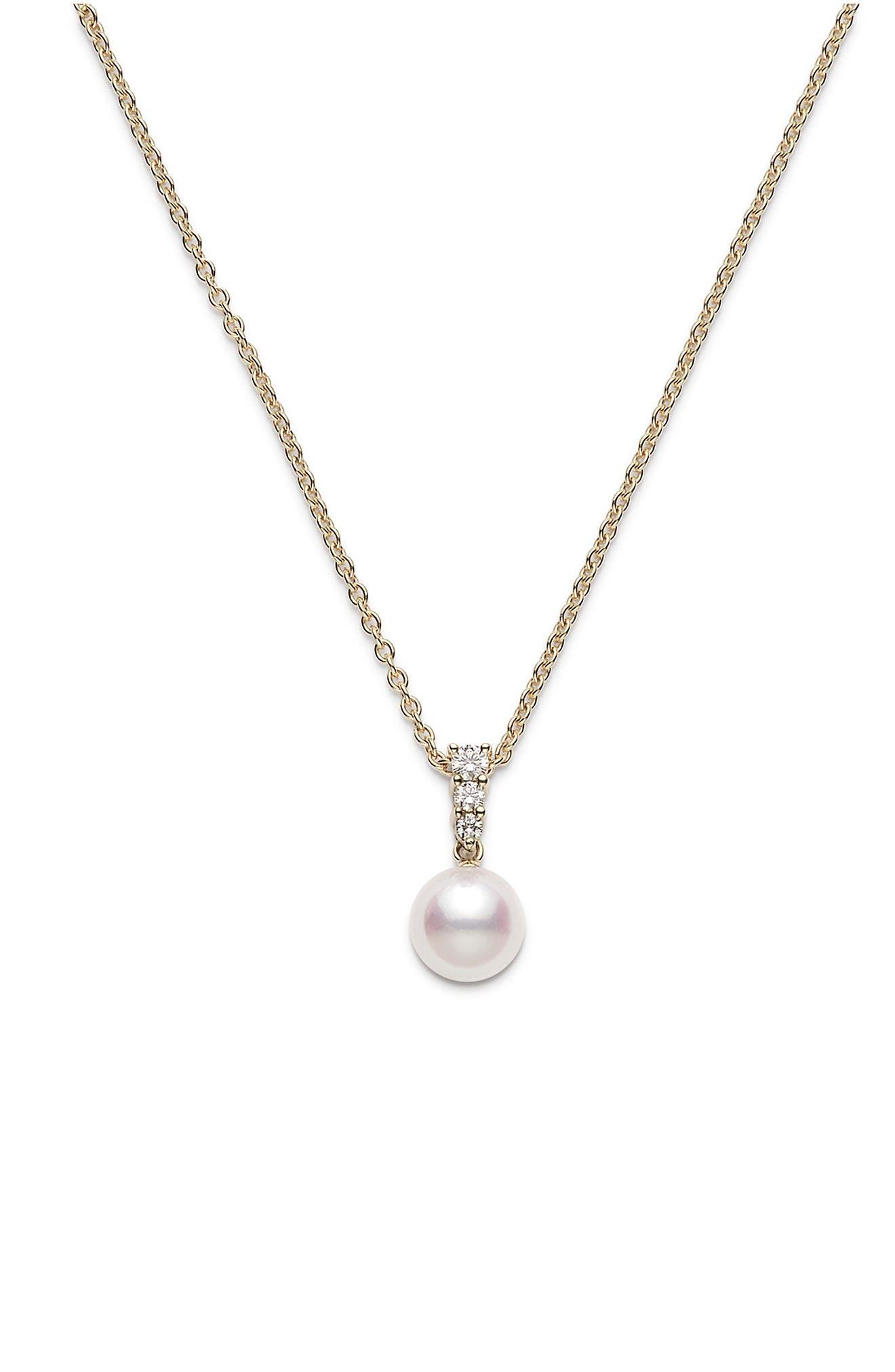 Morning Dew Pearl & Diamond Pendant Necklace