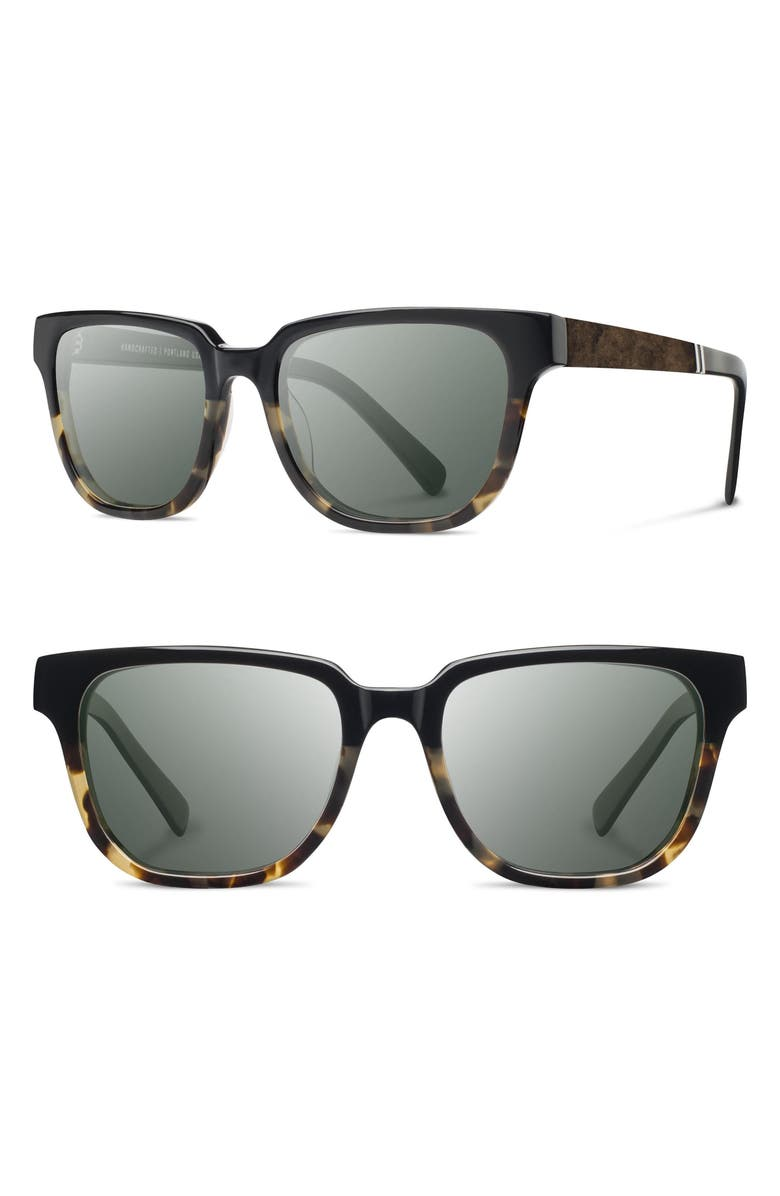 SHWOOD 'Prescott' 52mm Polarized Sunglasses, Main, color, BLACK OLIVE / ELM BURL / G15