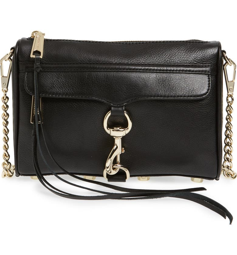 REBECCA MINKOFF Mini MAC Convertible Crossbody Bag, Main, color, BLACK LEATHER/ LT GOLD HRDWR