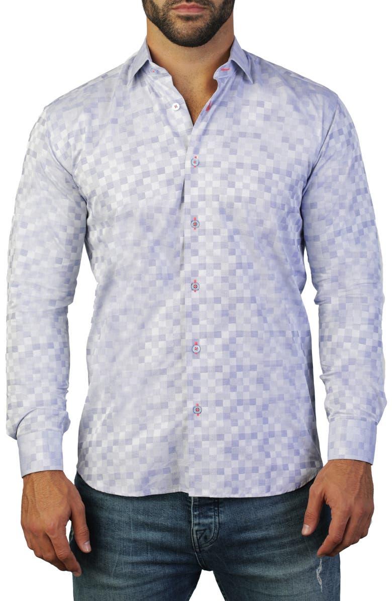 MACEOO Fibonacci Regular Fit Cotton Shirt, Main, color, BLUE