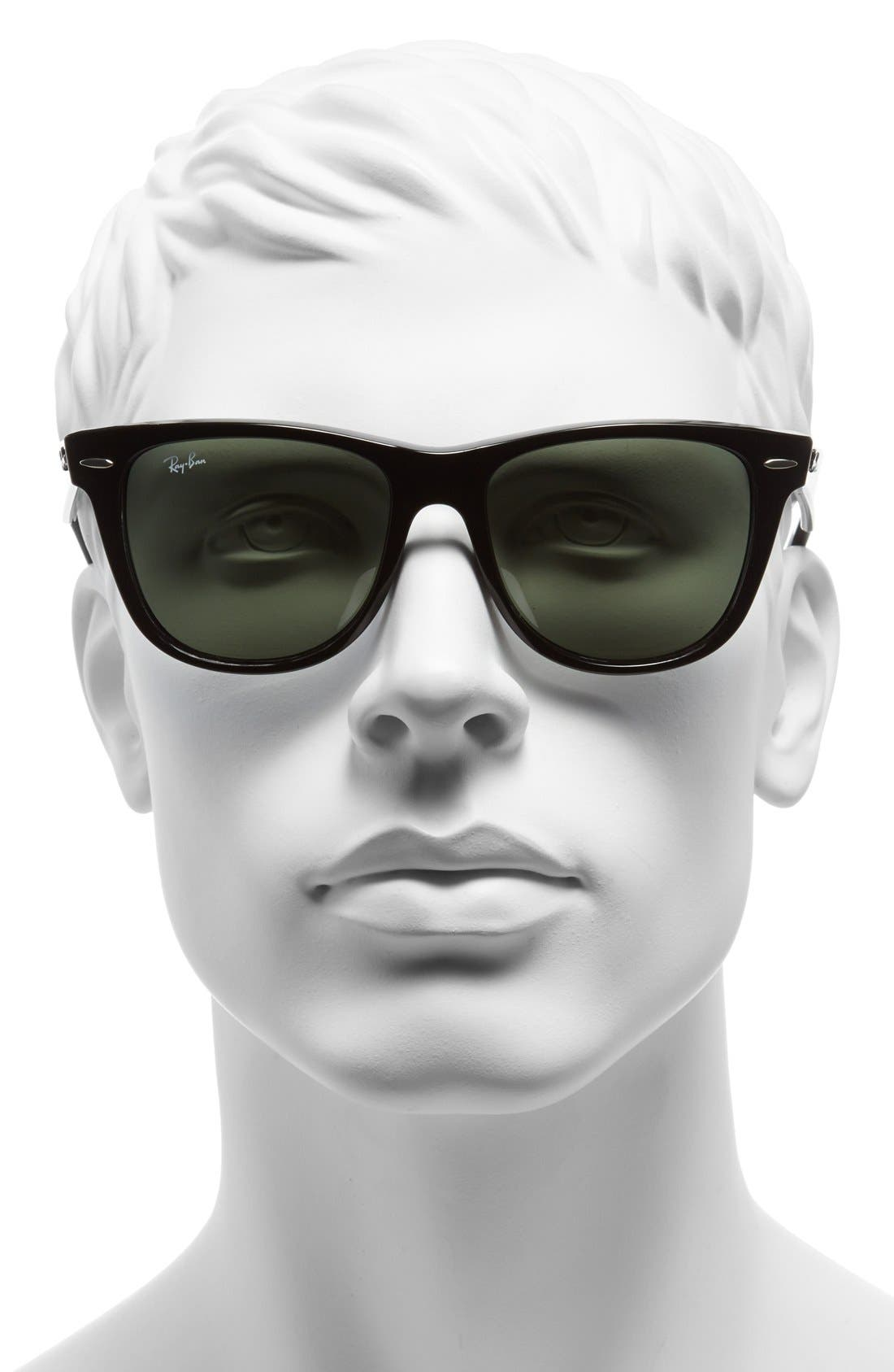 ,                             Classic Wayfarer 54mm Sunglasses,                             Alternate thumbnail 3, color,                             BLACK/ GREEN