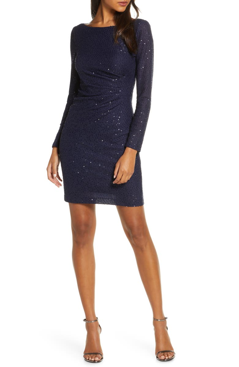 VINCE CAMUTO Sequin Knit Dress, Main, color, NAVY