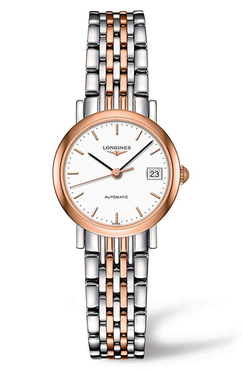 LONGINES Elegant Automatic Bracelet Watch, 25.5mm, Main, color, SILVER/ WHITE/ ROSE GOLD