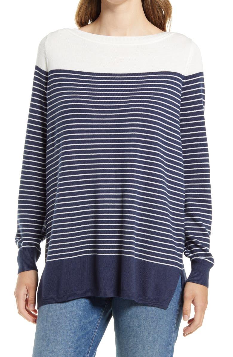 CASLON<SUP>®</SUP> Women's Colorblock Stripe Sweater, Main, color, NAVY PLACED STRIPE