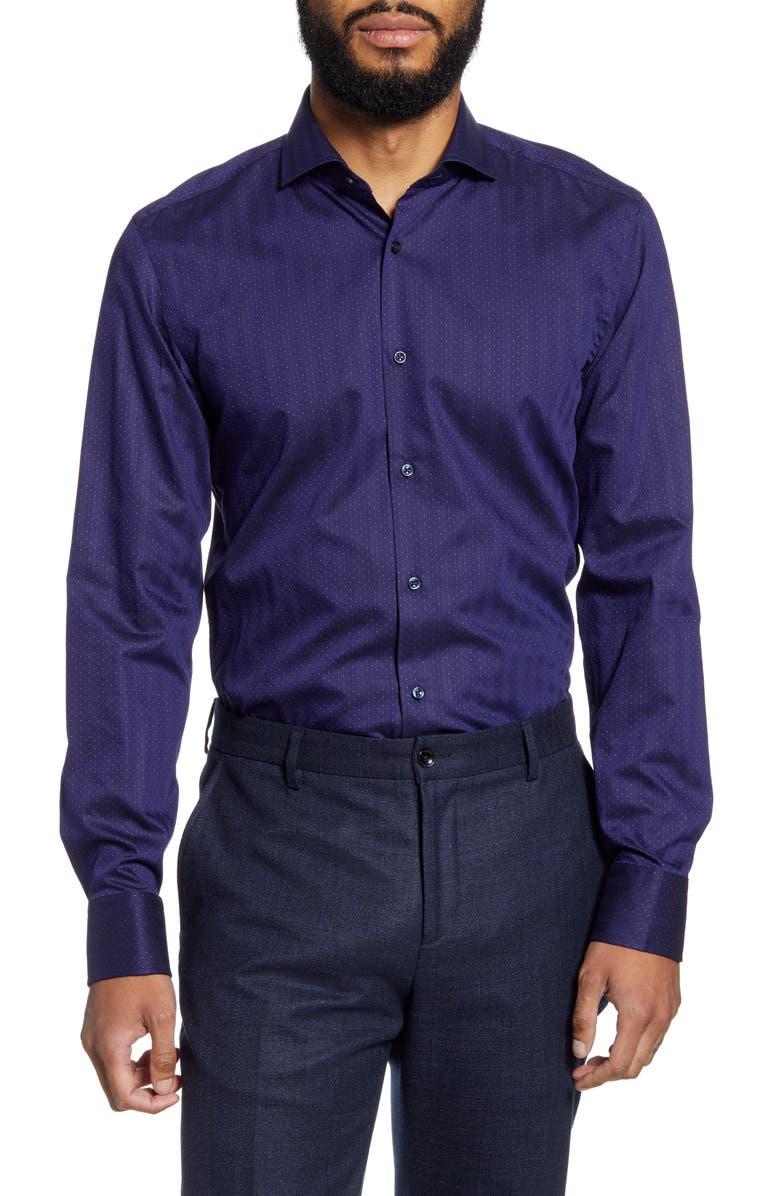BOSS Jason Slim Fit Dot Dress Shirt, Main, color, BLUE