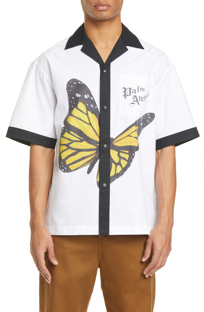 PALM ANGELS Butterfly Print Cotton Bowling Shirt, Main, color, WHITE MULTICOLOR