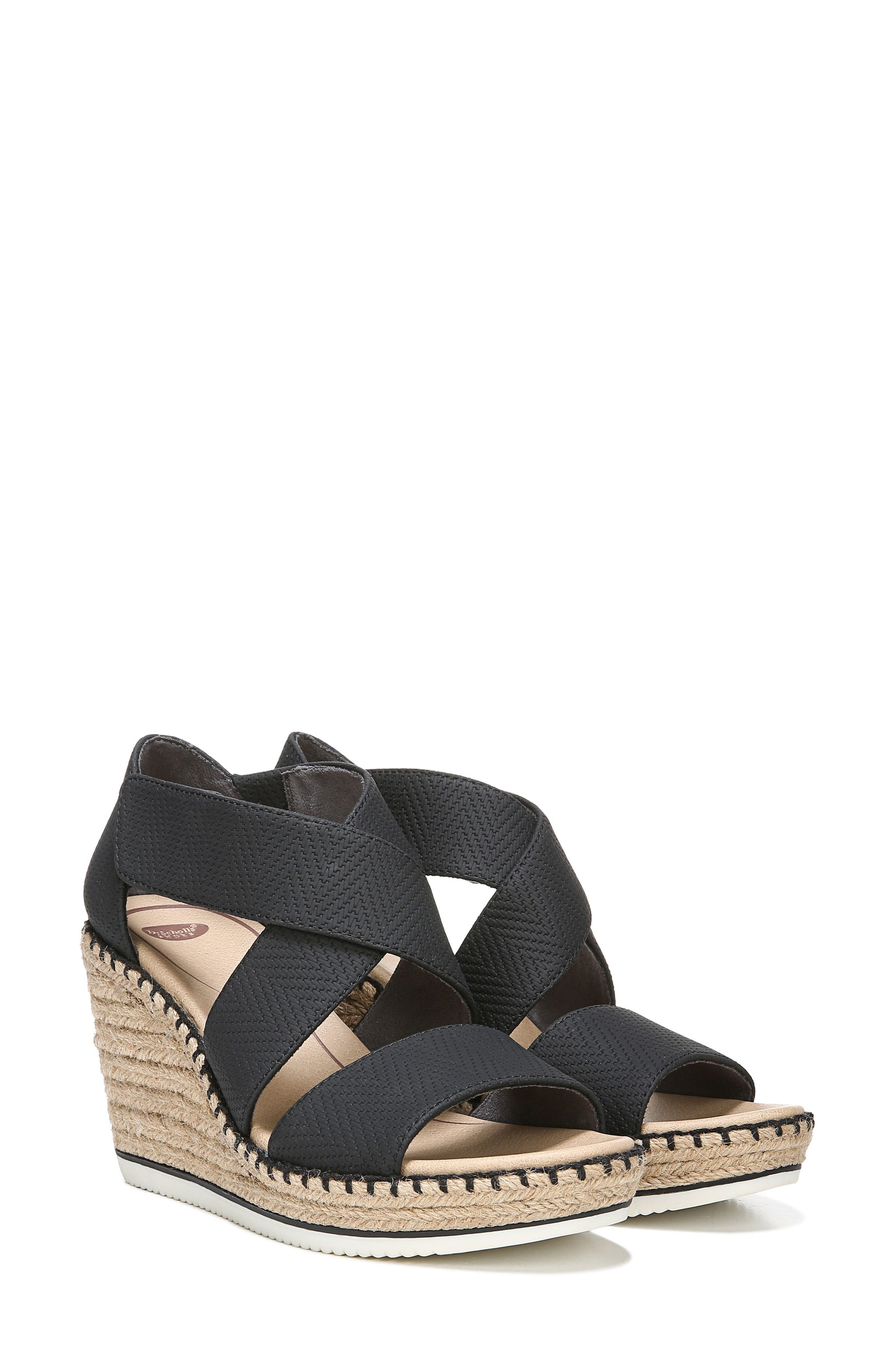 ,                             Vacay Wedge Sandal,                             Alternate thumbnail 8, color,                             BLACK FAUX LEATHER