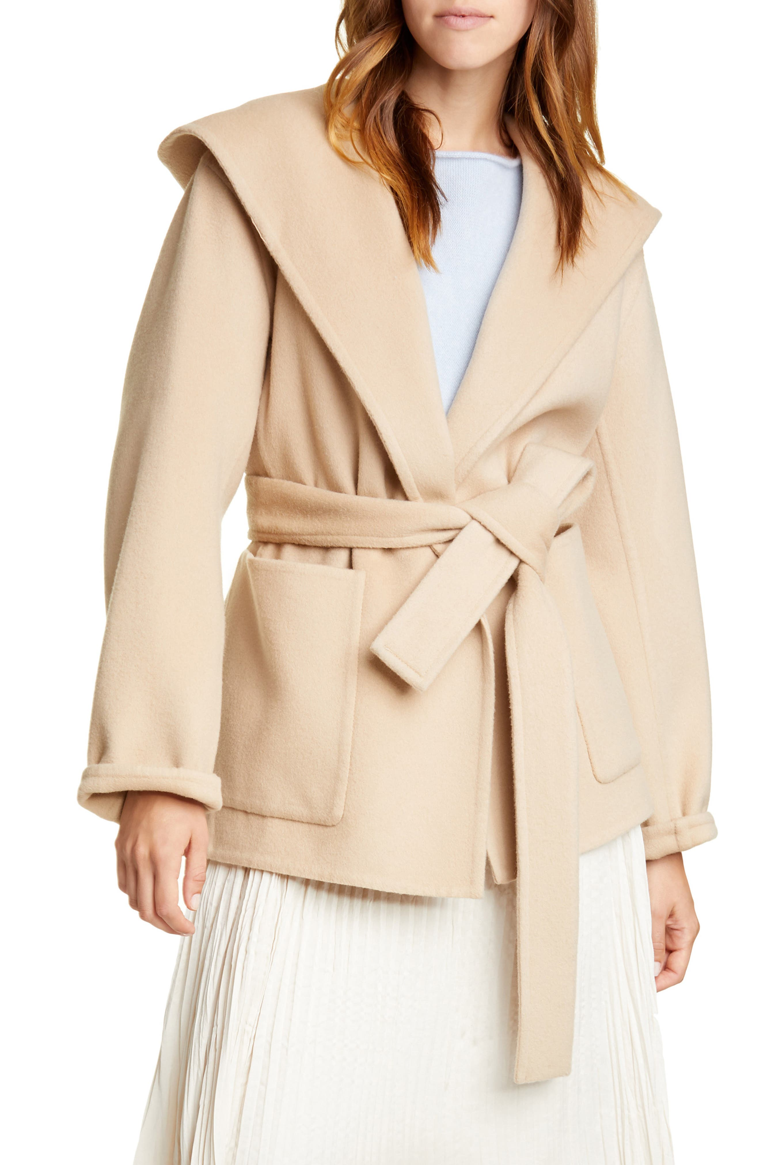 Image of Vince Hooded Tie Waist Wool & Cashmere Coat
