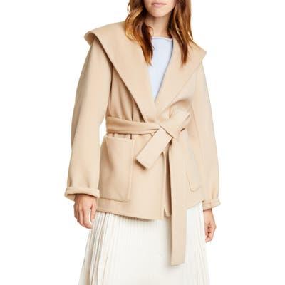 Vince Hooded Tie Waist Wool & Cashmere Coat, Beige