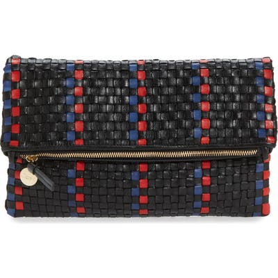 Clare V. Woven Leather Foldover Clutch - Black