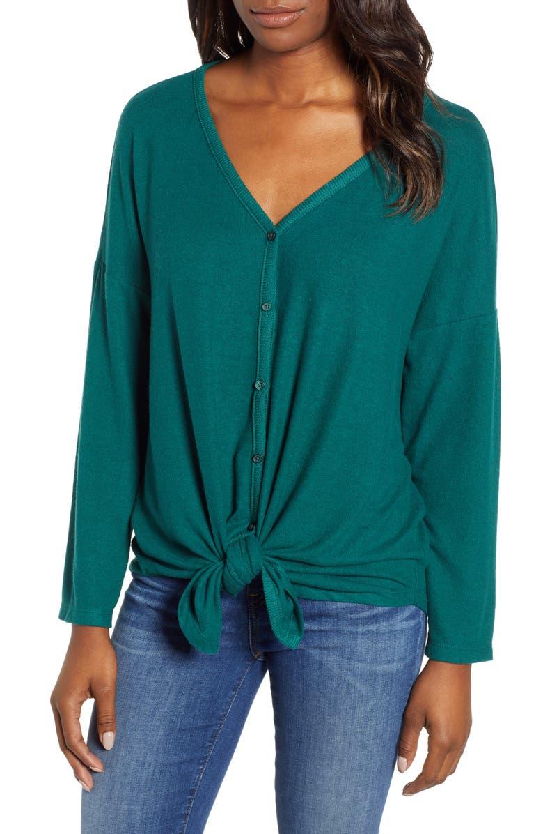 eefcb6220 Caslon® Tie Front Cozy Knit Shirt (Regular, Petite & Plus Size ...