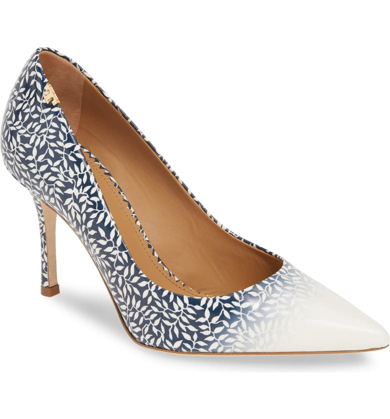 TORY BURCH Penelope Ombré Pointy Toe Pump, Main, color, DITSY LEAF/ IVORY