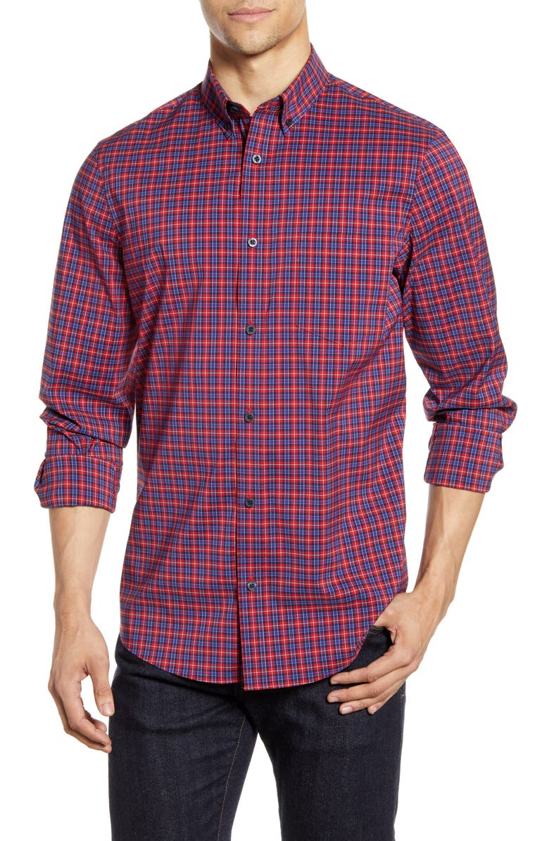NORDSTROM MEN'S SHOP Nordstrom Mens Shop Tech-Smart Regular Fit Check Button-Down Sport Shirt, Main, color, 610