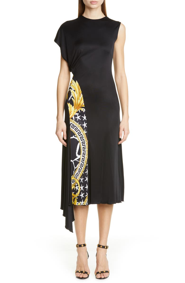 VERSACE Barco Print Panel Dress, Main, color, BLACK BARCO