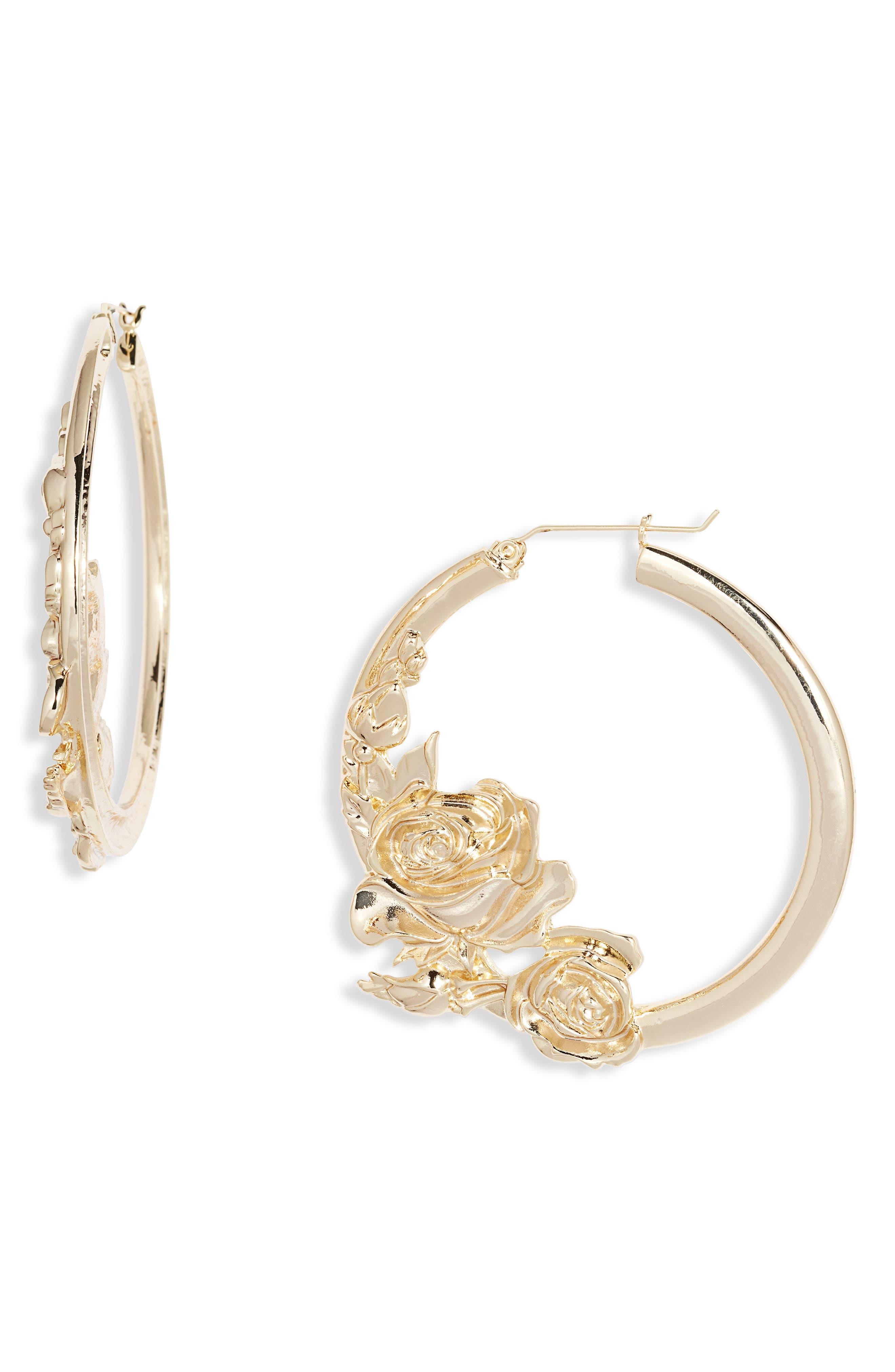 Rose Bouquet Hoop Earrings
