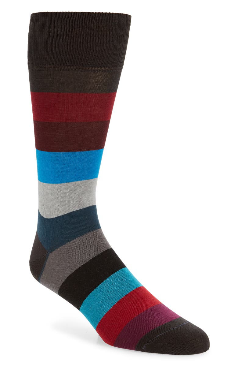 BUGATCHI Stripe Cotton Blend Socks, Main, color, 020
