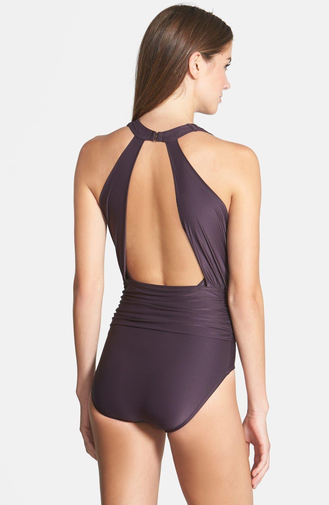 ,                             Badgley Mischka Dip Back Maillot Swimsuit,                             Alternate thumbnail 5, color,                             200