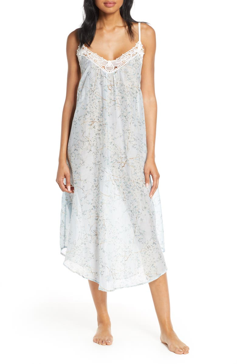 PAPINELLE Cherry Blossom Cotton & Silk Nightgown, Main, color, BLUE