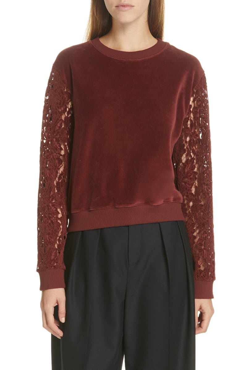 SEE BY CHLOÉ Lace Trim Velour Sweatshirt, Main, color, DARK BLUE