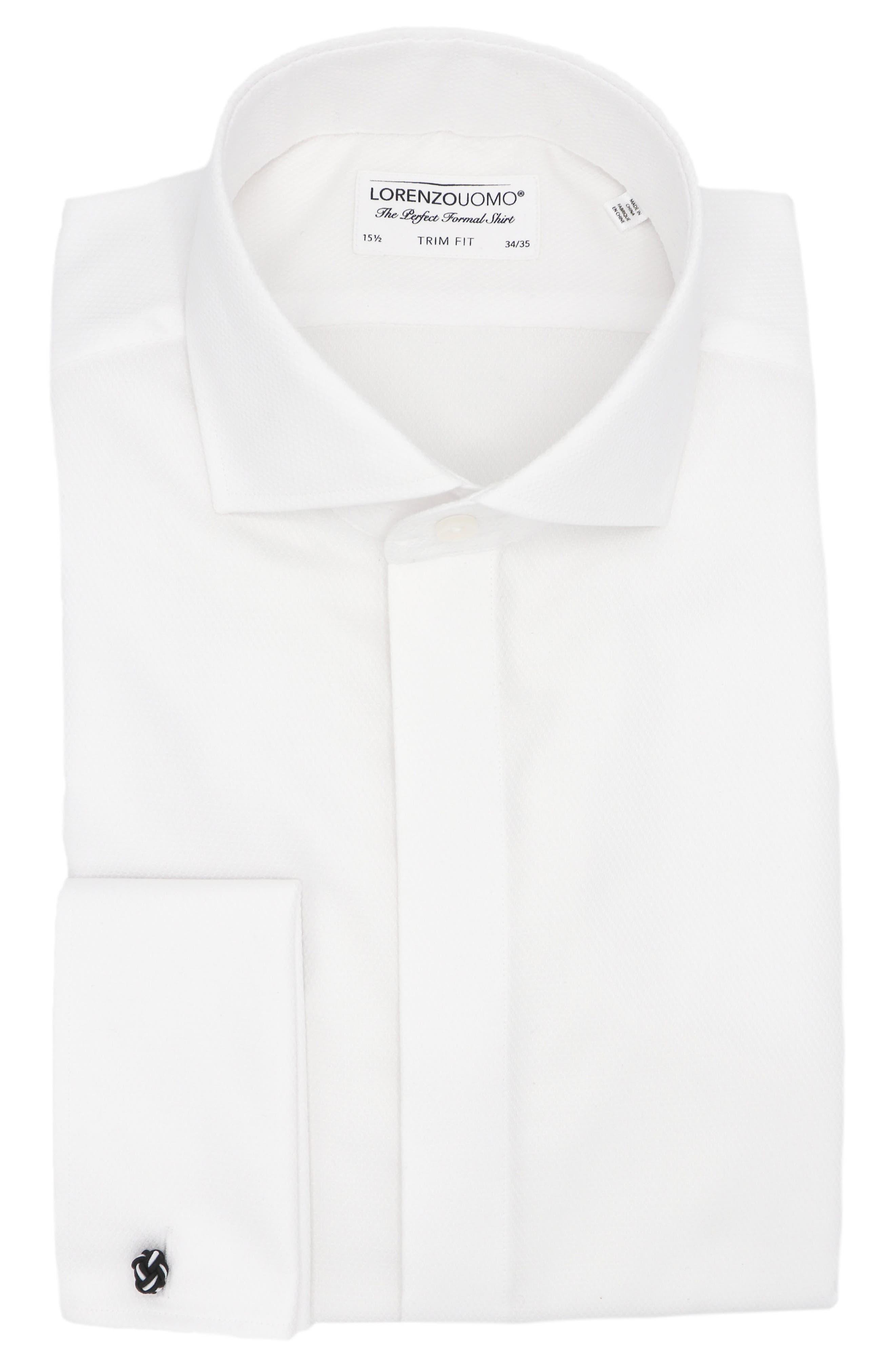 Trim Fit Diamond Pattern Dress Shirt
