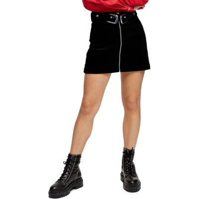 Petite Topshop Double Buckle Corduroy Miniskirt, P US (fits like 0-2P) - Black