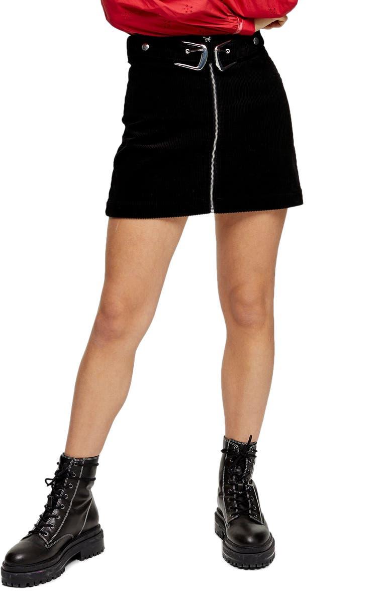 TOPSHOP Double Buckle Corduroy Miniskirt, Main, color, BLACK