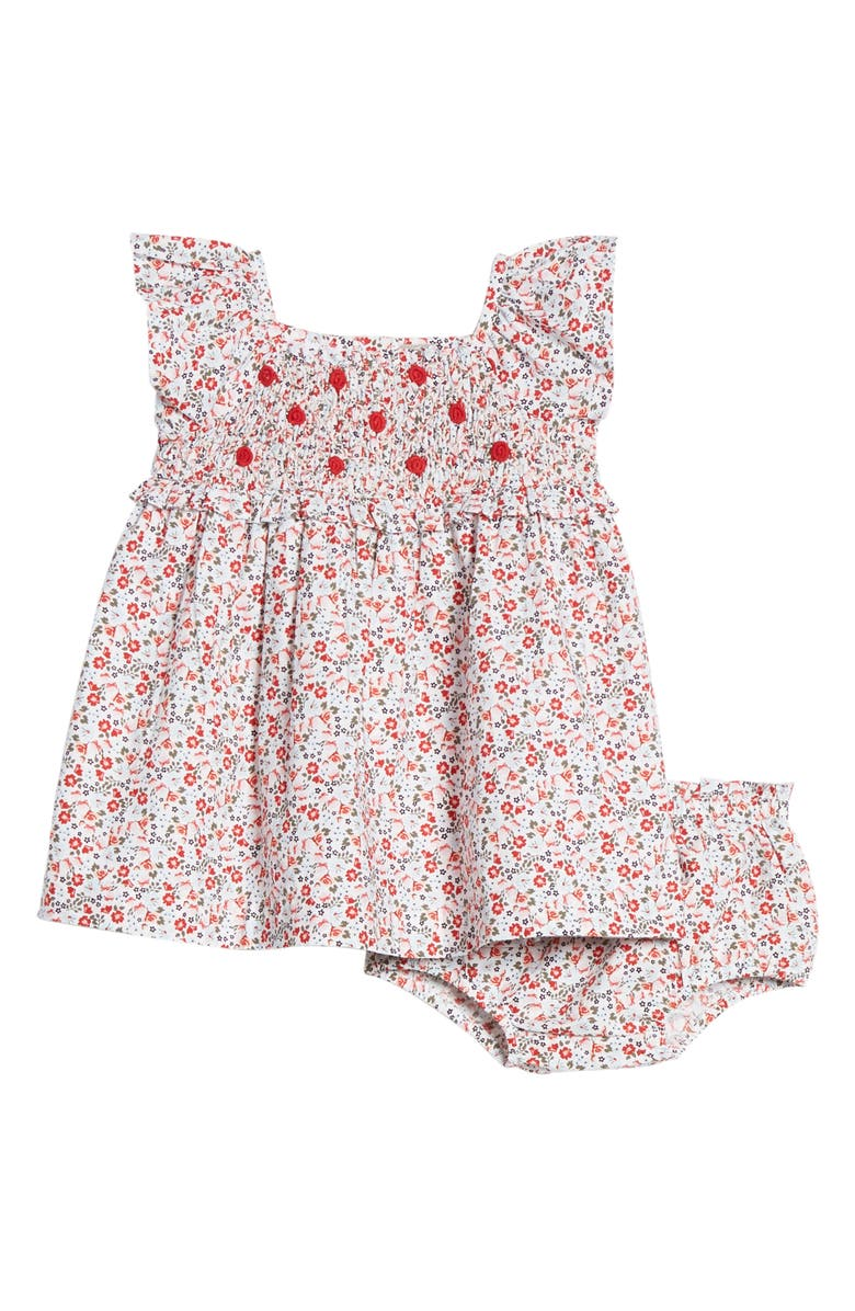 NORDSTROM Smocked Dress, Main, color, WHITE- RED TROPIC DITSY