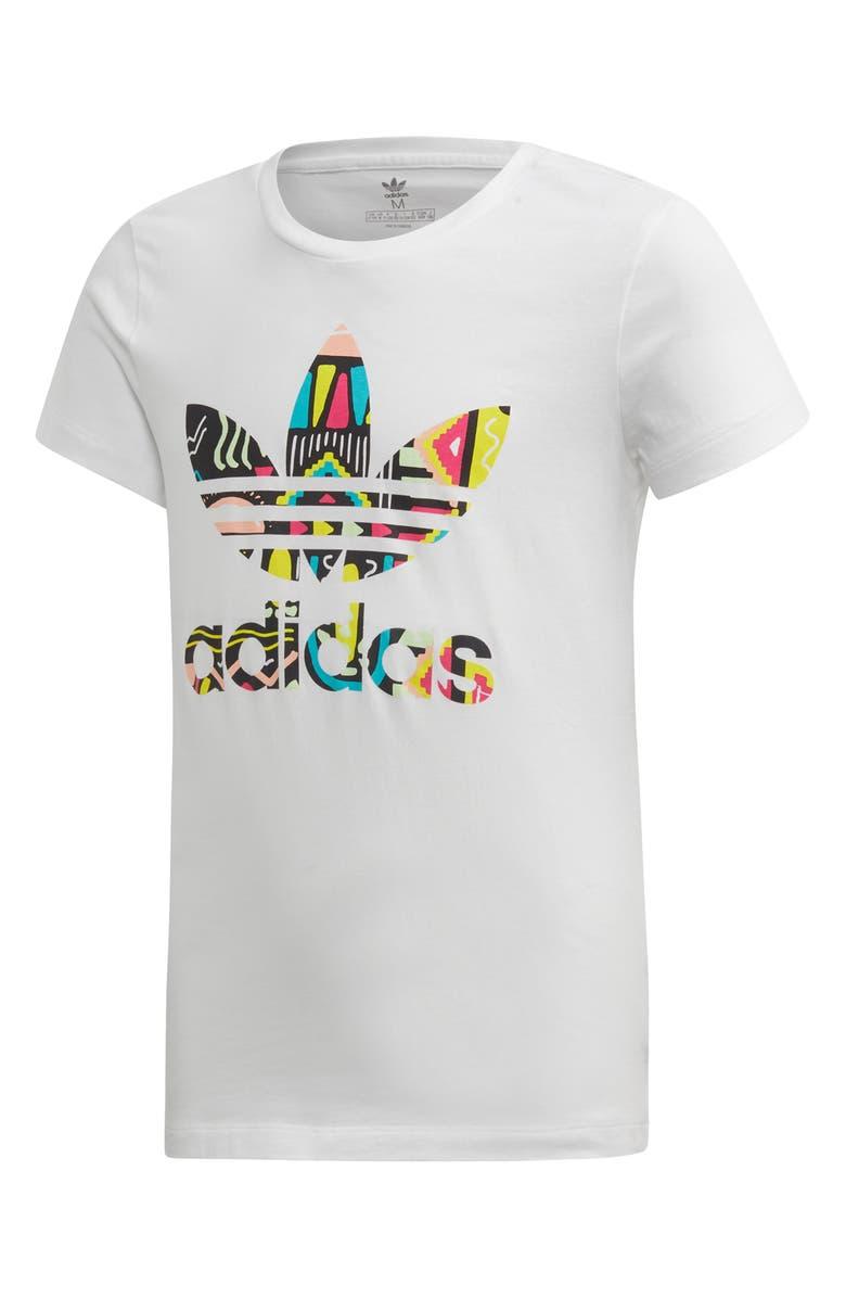 ADIDAS Originals Pattern Logo Graphic Slim Fit Tee, Main, color, WHITE/ MULTCO
