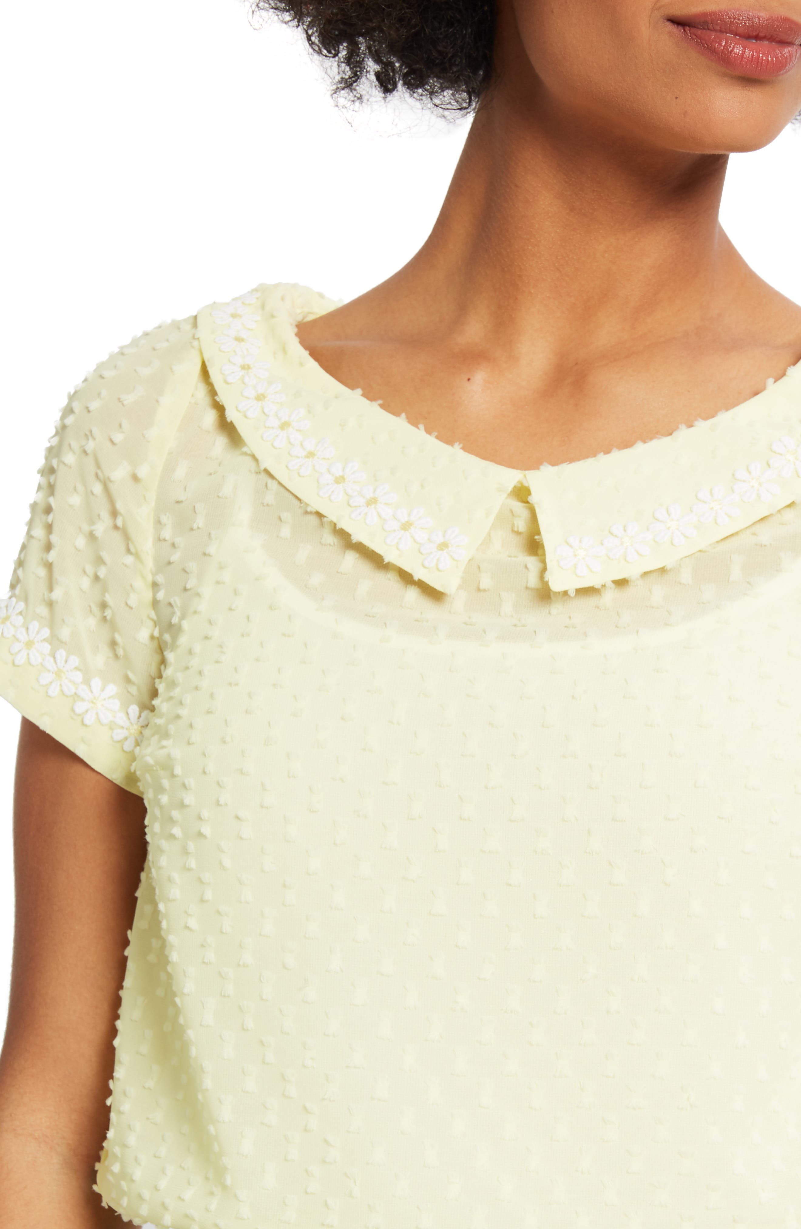 ,                             Daisy Trim Blouse,                             Alternate thumbnail 4, color,                             YELLOW