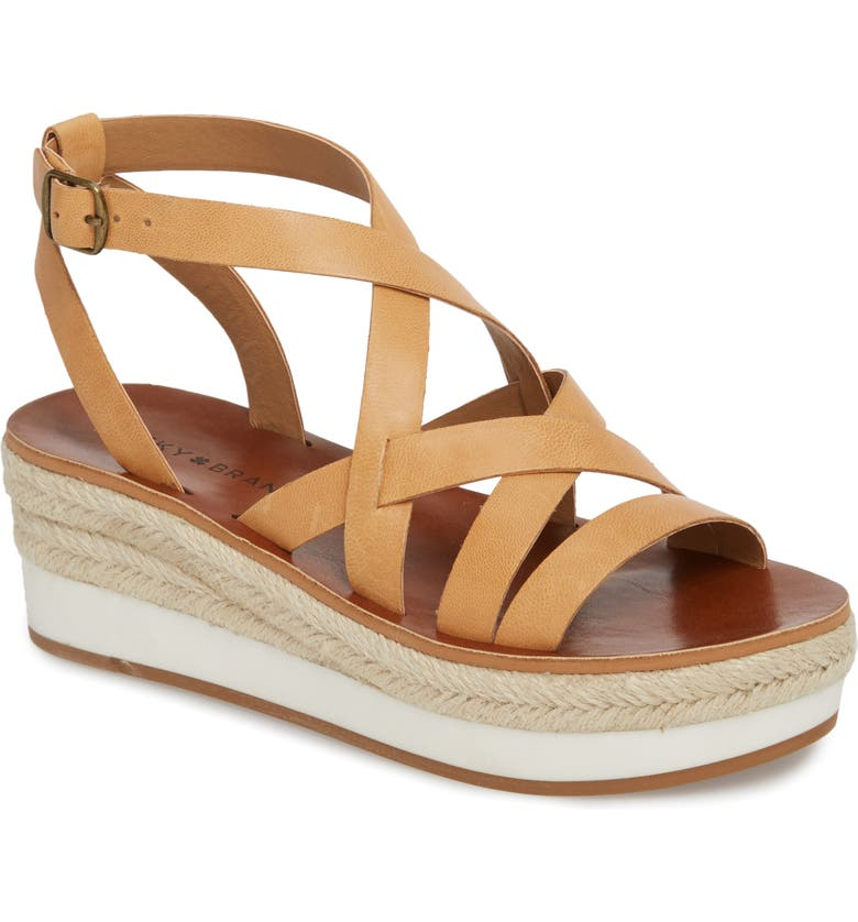 LUCKY BRAND Jenepper Platform Wedge Sandal, Main, color, BUFF LEATHER