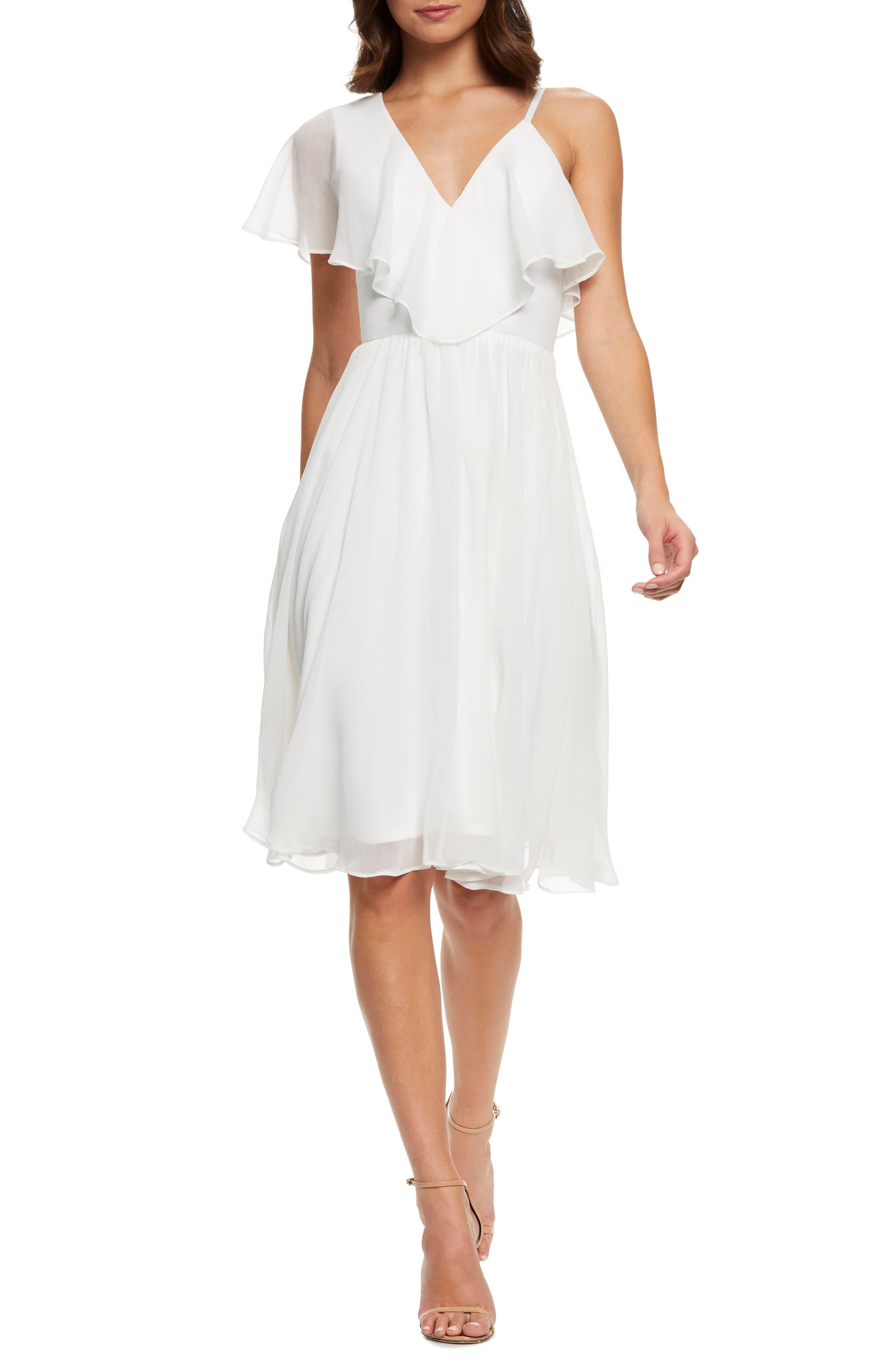 60s Wedding Dresses | 70s Wedding Dresses Womens Dress The Population Claudia Asymmetrical Ruffle Cocktail Dress Size XX-Small - White $198.00 AT vintagedancer.com