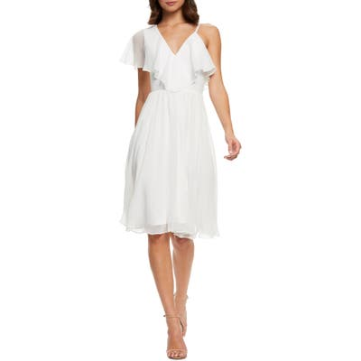 Dress The Population Claudia Asymmetrical Ruffle Cocktail Dress, White