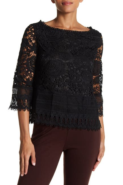Image of Vertigo Boatneck Crochet Lace Top