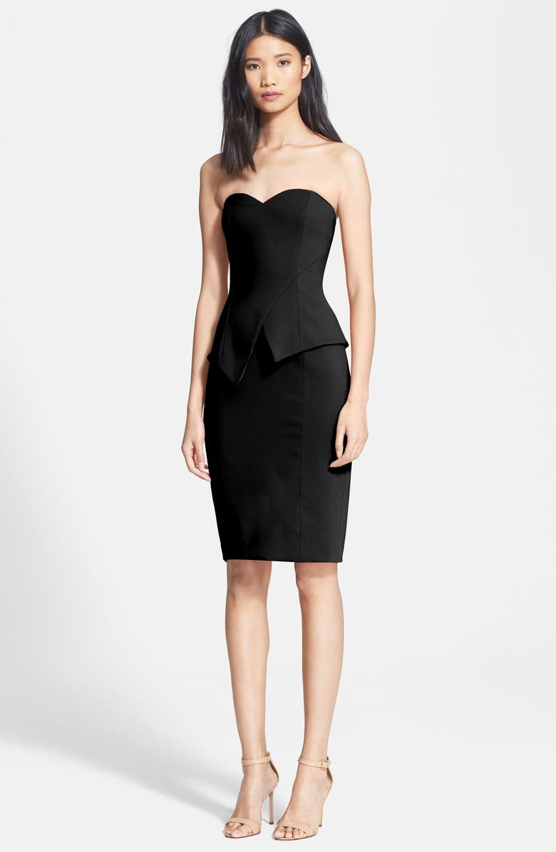JAY BY JAY GODFREY Jay Godfrey 'Tama' Stretch Crepe Peplum Sheath, Main, color, 001