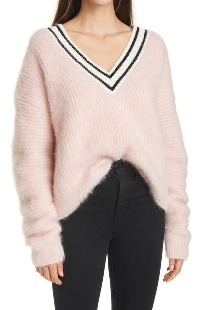 Tanya Taylor MILLIE STRIPE TRIM FUZZY SWEATER