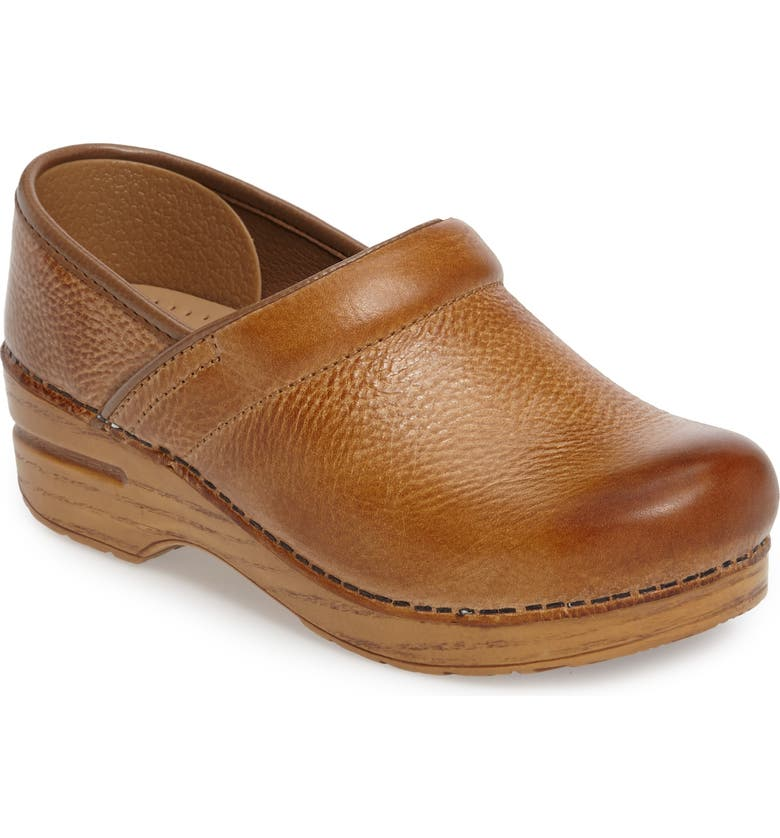 DANSKO Distressed Professional Clog, Main, color, HONEY LEATHER