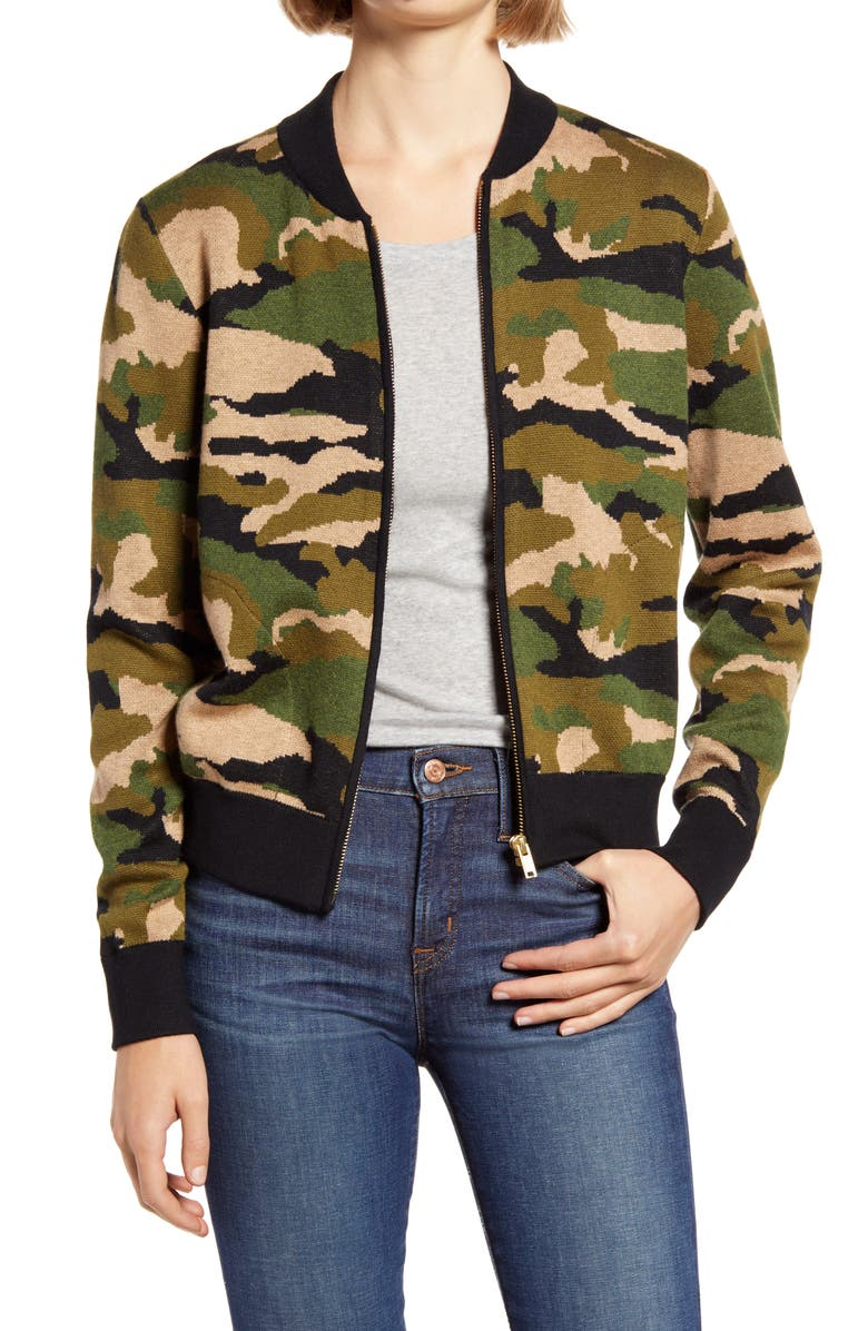 J.CREW Camo Bomber Sweater Jacket, Main, color, 300