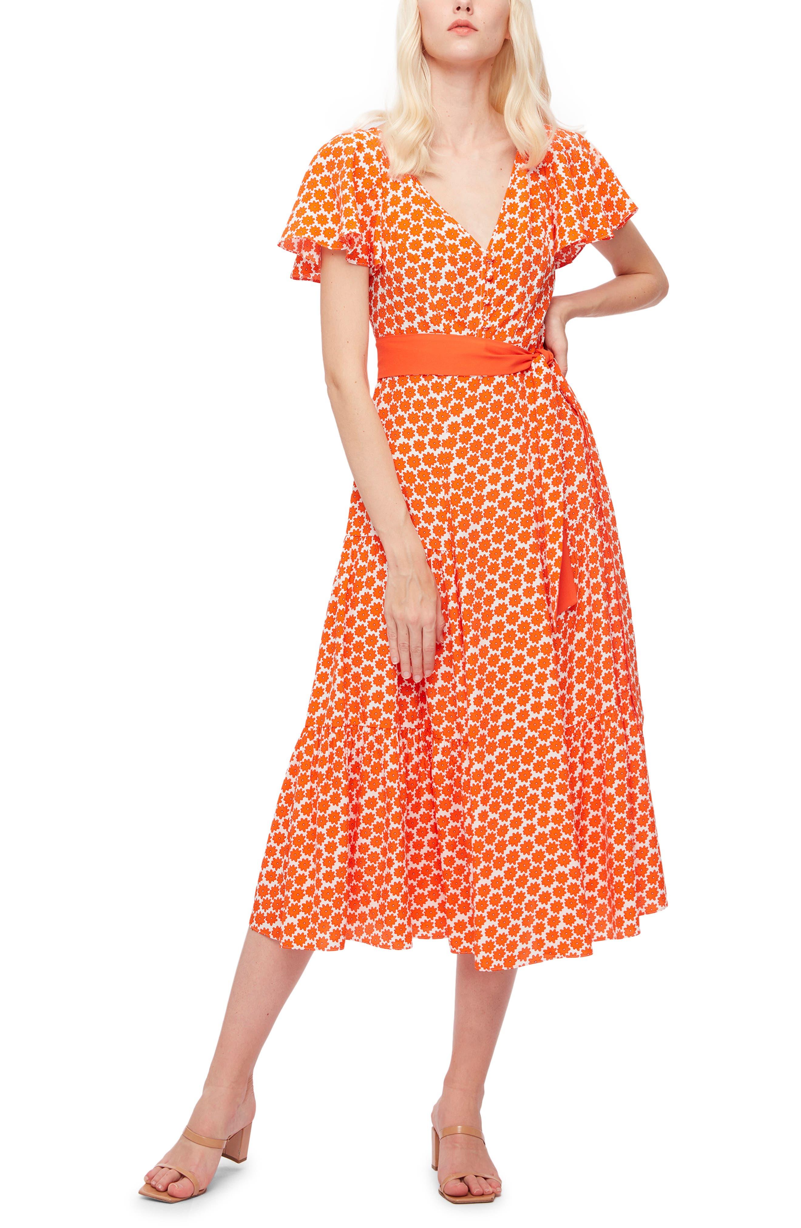 Leila Daisy Dots Crepe Midi Dress