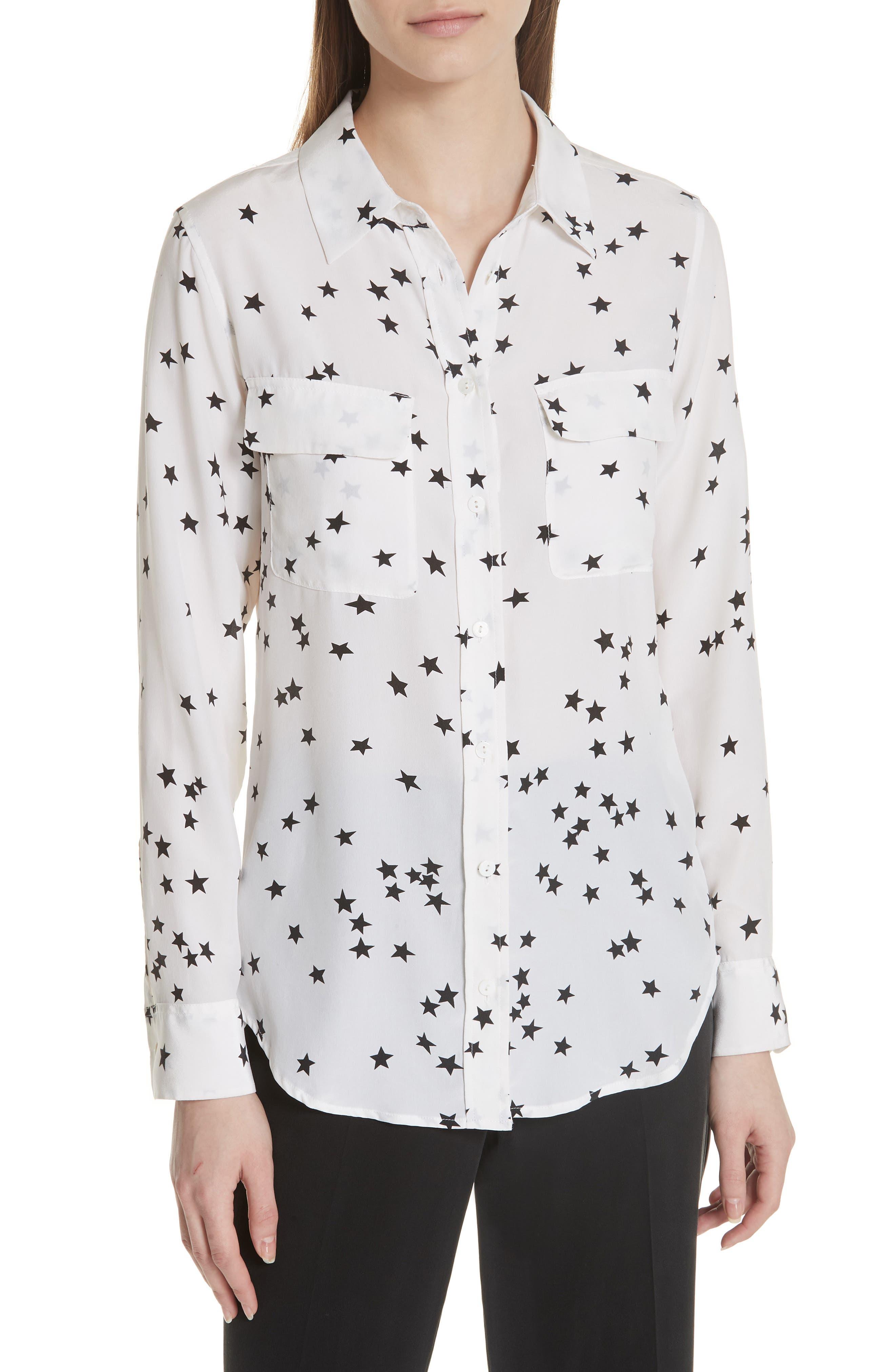 'Starry Night' Silk Shirt, Main, color, BRIGHT WHITE/ BLACK
