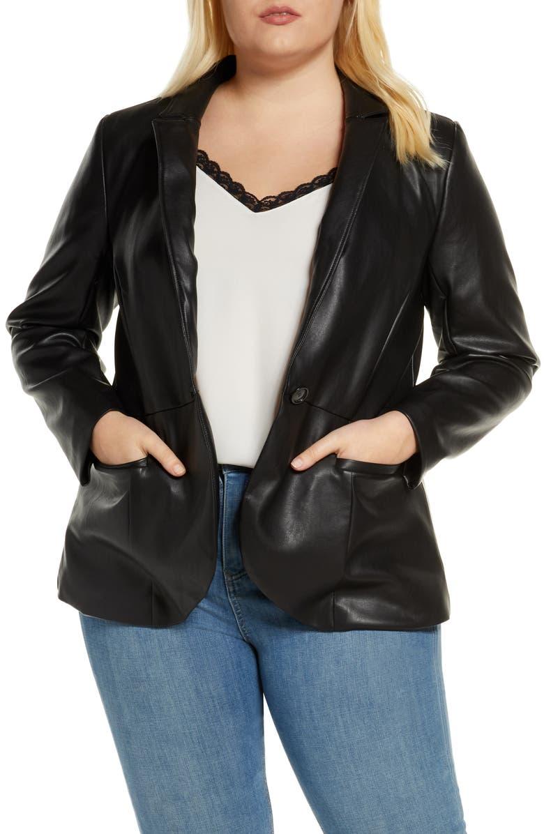 ELOQUII Faux Leather Blazer, Main, color, 001