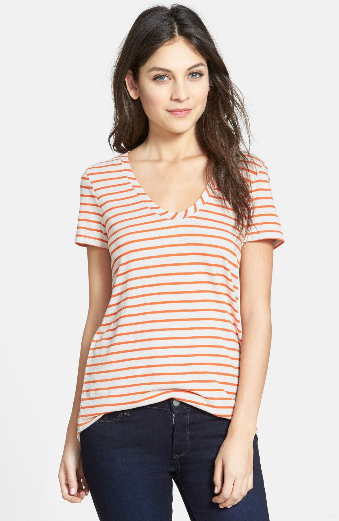 ,                             Relaxed Slub Knit U-Neck Tee,                             Main thumbnail 462, color,                             901