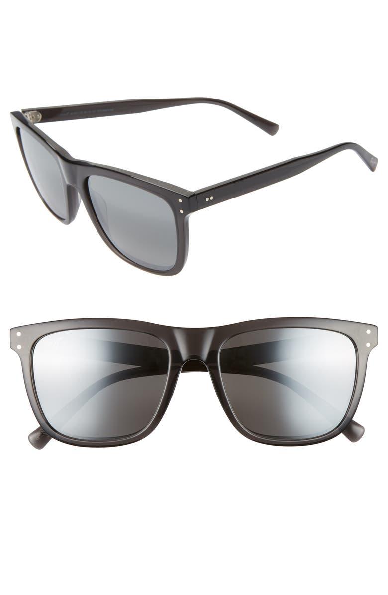 MAUI JIM Velzyland 56mm PolarizedPlus2<sup>®</sup> Square Sunglasses, Main, color, DARK TRANSLUCENT GREY/ GREY