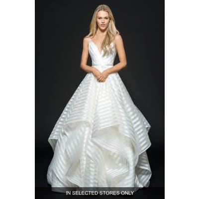 Hayley Paige Decklyn Stripe Organza Ballgown, Size - Ivory