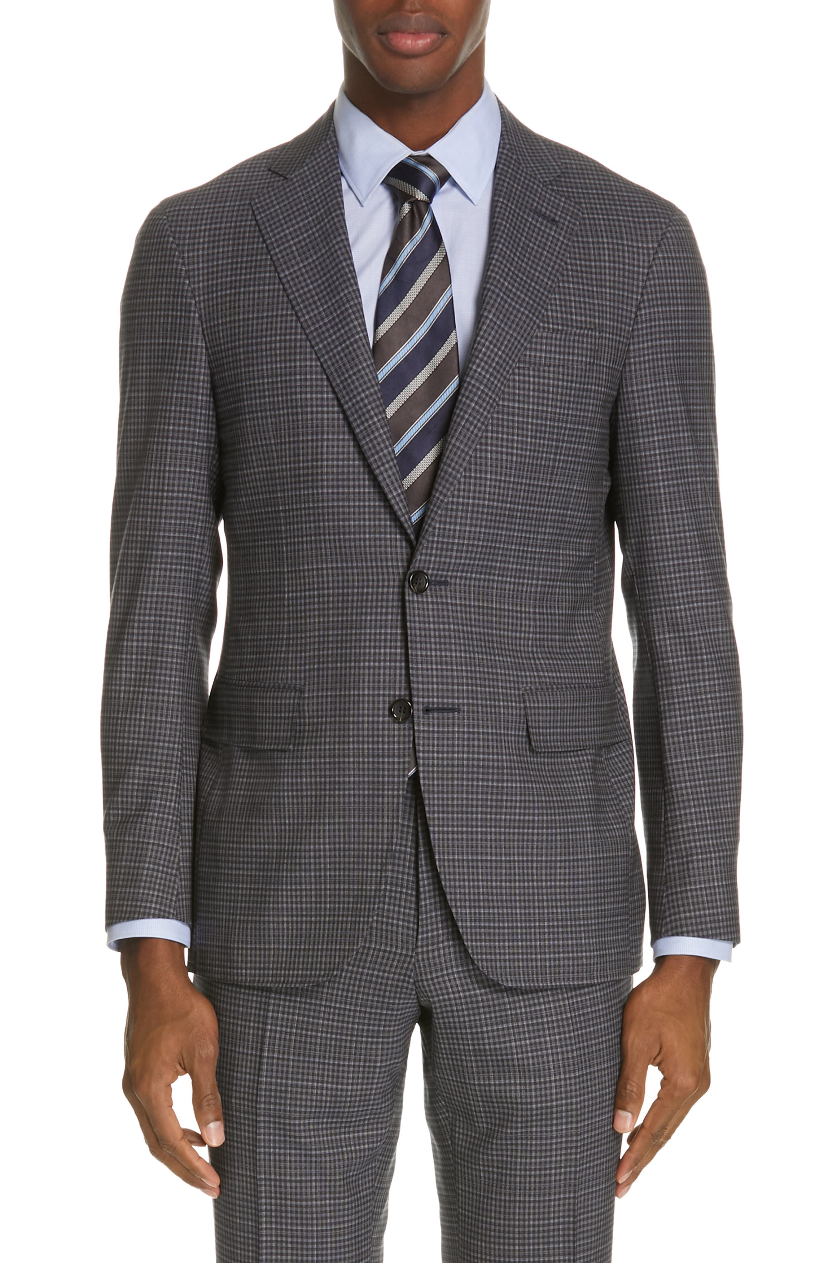 ,                             Milano Trim Fit Check Wool Suit,                             Alternate thumbnail 5, color,                             CHARCOAL