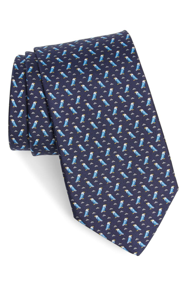 SALVATORE FERRAGAMO Impero Print Silk Tie, Main, color, F.NAVY